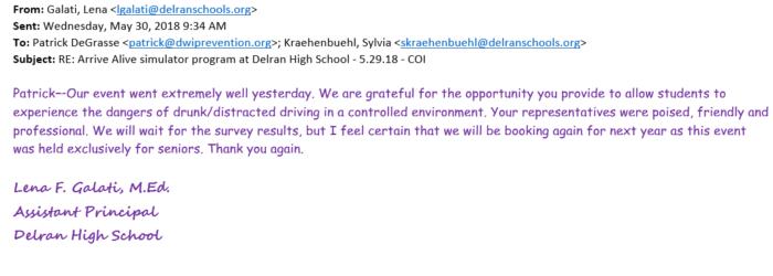 Delran HS testimonial